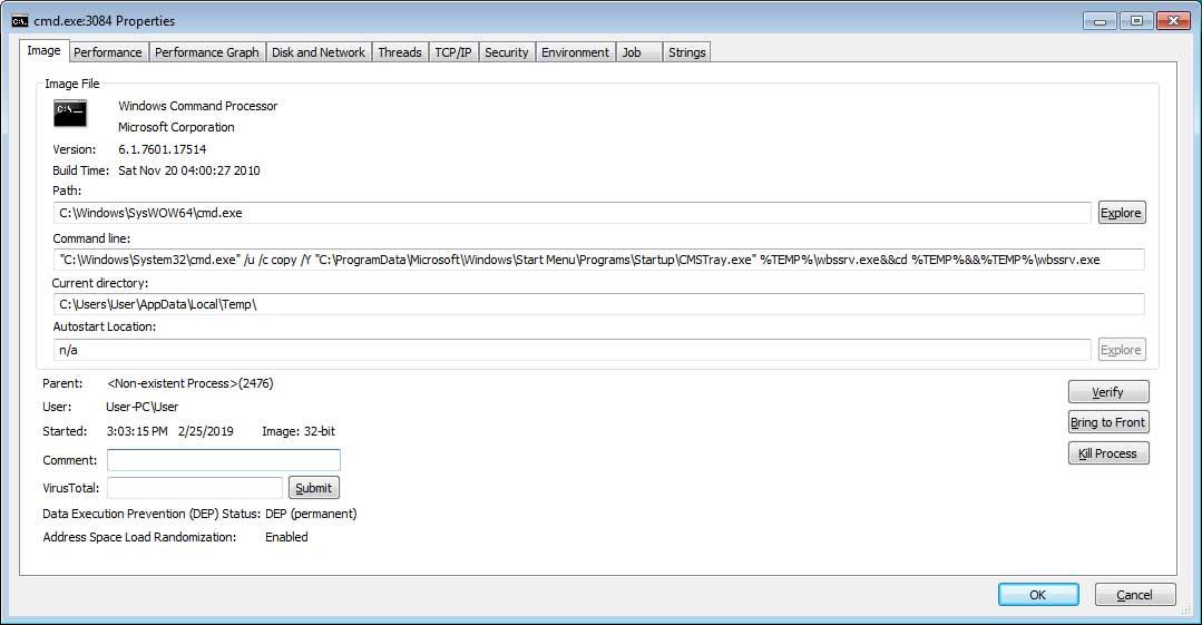 launched command - بهرهجویی از آسیبپذیری WinRAR با هدف انتشار بدافزار