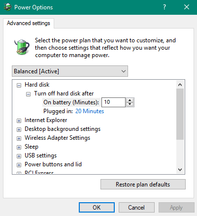 4 - تنظیمات Power Option در ویندوز ۱۰