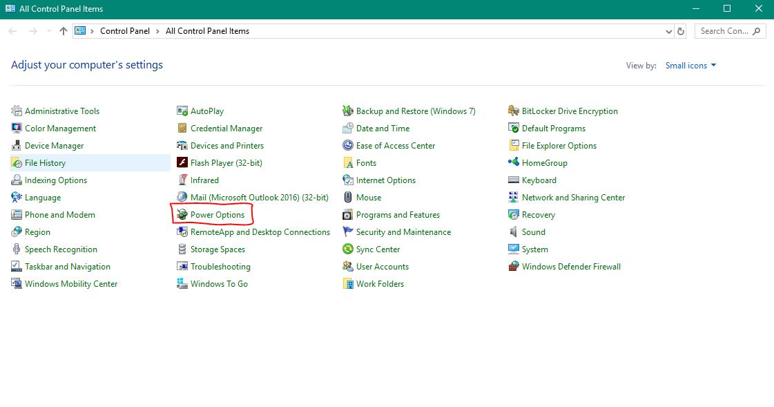 5 - تنظیمات Power Option در ویندوز ۱۰