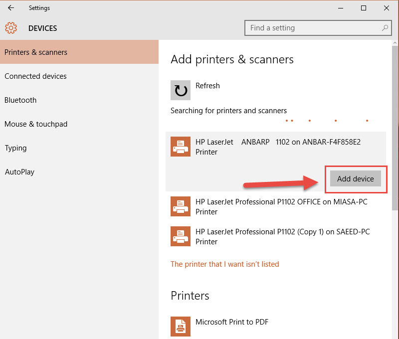 n - Install and uninstall  printer in Windows 10