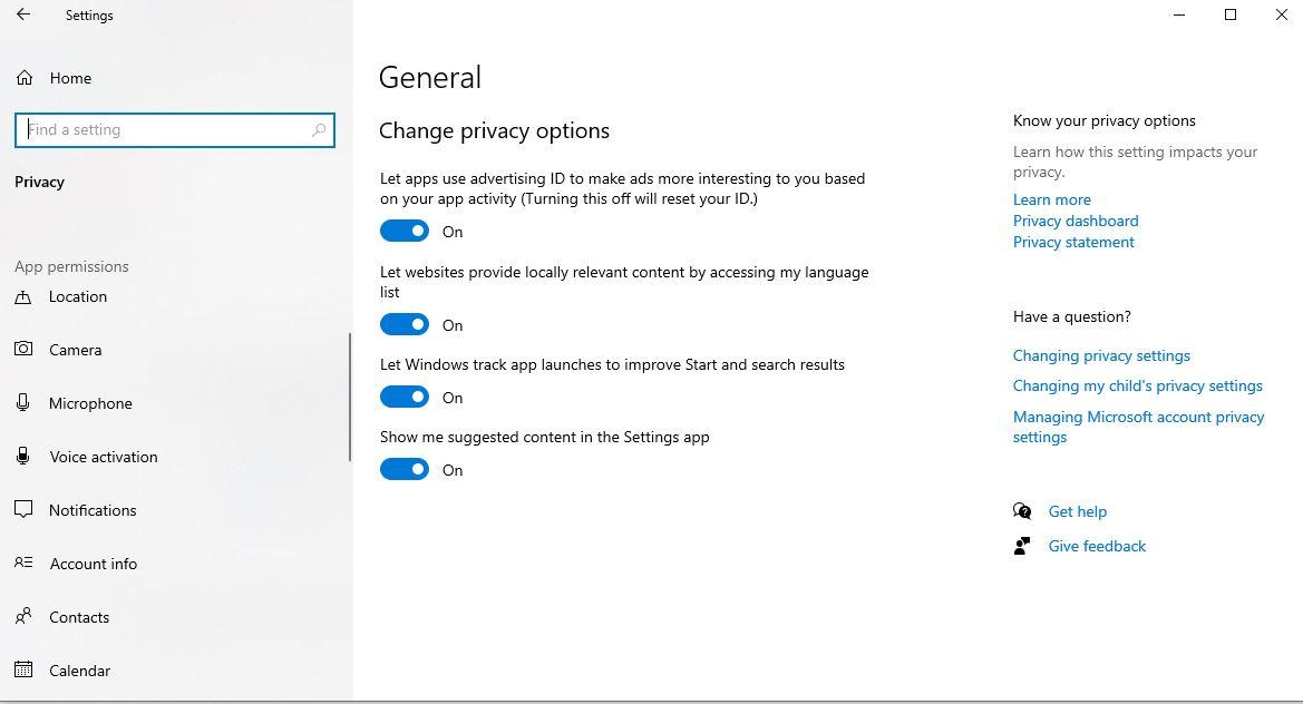 تنظیمات حریم خصوصی در ویندوز10